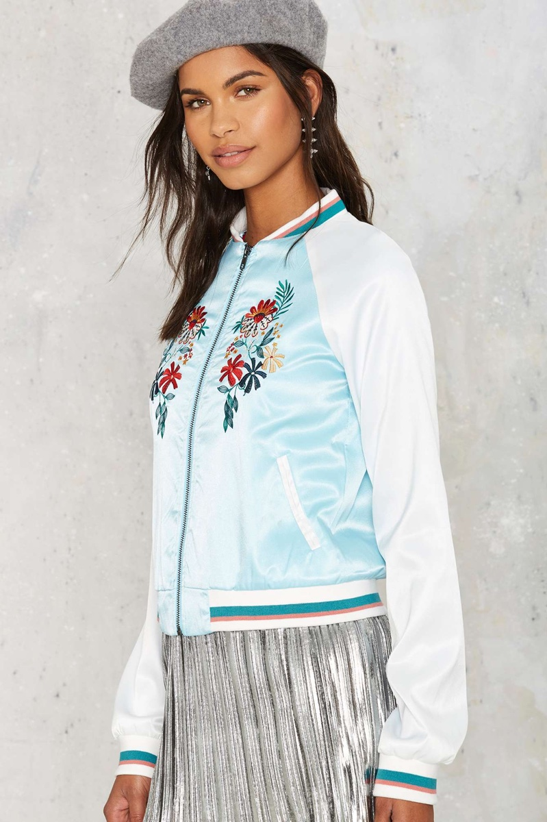 Glamorous Vine with Me Embroidered Bomber Jacket