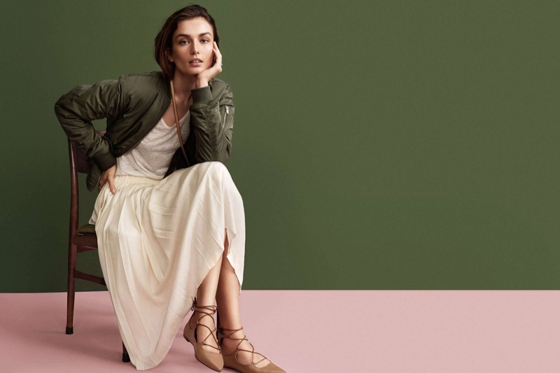H&M Pilot Jacket, Linen Jersey Top, Pleated Skirt and Pointed Flats with Lacing