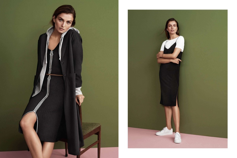 (Left) H&M Creped Coat, Hooded Jacket, Ribbed Top and Pencil Skirt with Zip (Right) H&M Cotton T-Shirt, Slip Dress and Sneakers
