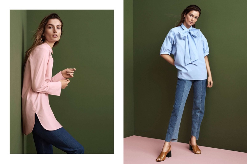 (Left) Long Cotton Shirt and Jeans (Right) H&M Bow Blouse, Slim Regular Ankle Jeans and Patent Sandals