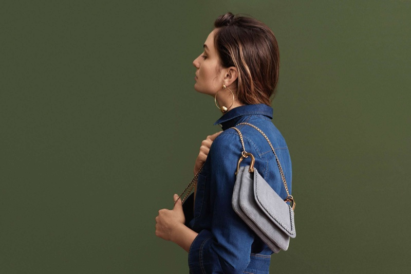 H&M Denim Shirt, Round Earrings and Shoulder Bag