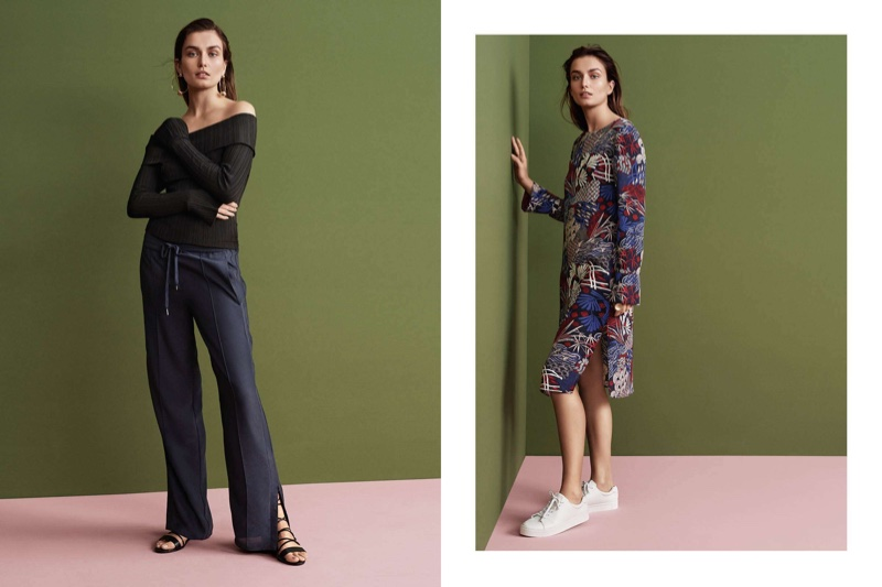 (Left) H&M Off-the-Shoulder Sweater, Wide-Leg Pants and Sandals (Right) H&M Crepe Dress and Sneakers