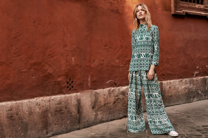 H&M Blouse with Standup Collar and Printed Trousers