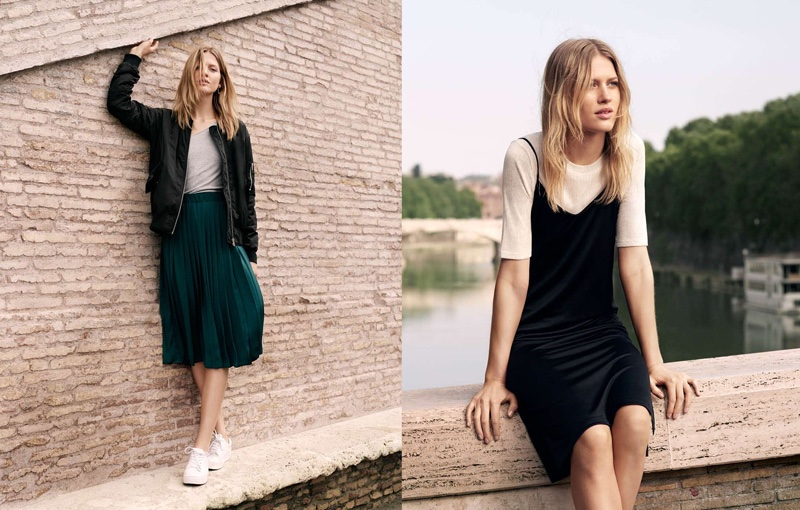 (Left) H&M Pilot Jacket, Linen Jersey Top, Pleated Skirt and Sneakers (Right) H&M Jersey Top and Slip Dress