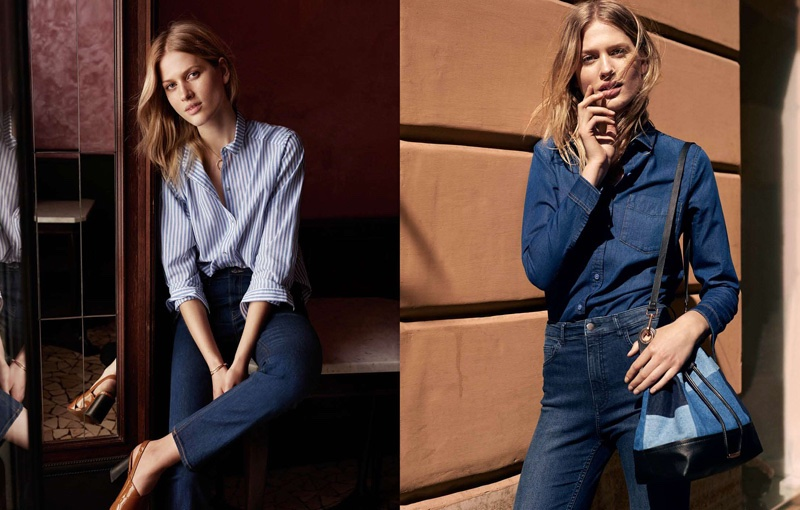 (Left) H&M Cotton Shirt, High-Waist Jeans and Patent Leather Sandals (Right) H&M Denim Shirt, Slim-Fit High-Waist Pants and Denim Bucket Bag