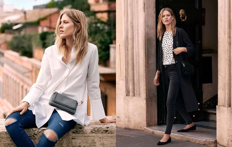 (Left) H&M Long Cotton Shirt, Superstretch Pants and Shoulder Bag (Right) H&M Creped Coat, Short Sleeve Blouse, Slim-Fit Pants, Ballet Flats and Suede Shoulder Bag
