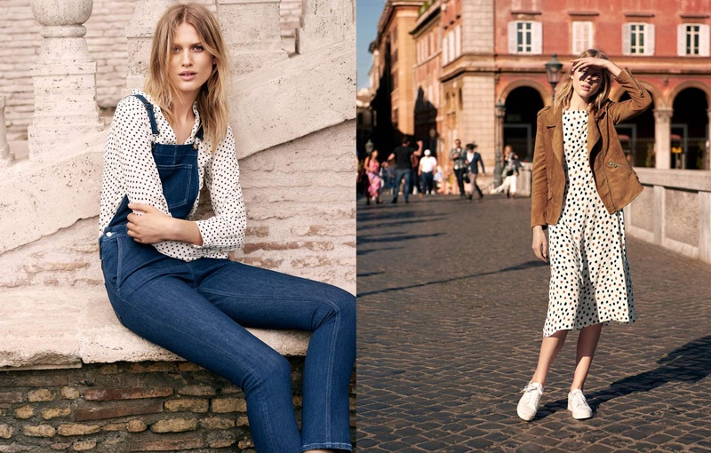 (Left) H&M V-Neck Blouse and Denim Overalls (Right) H&M Imitation Suede Biker Jacket, Printed Dress and Sneakers