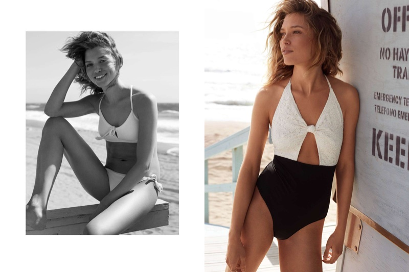 (Left) H&M Bikini Top and Bikini Bottoms with Tassels (Right) H&M One-Piece Swimsuit