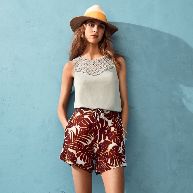 H&M Tank Top with Lace and Patterned Shorts