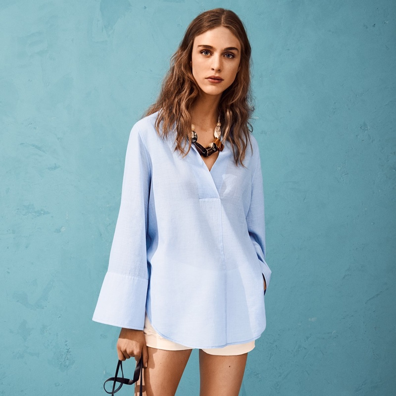 H&M Wide-Sleeved Cotton Blouse and Trashed Denim Shorts