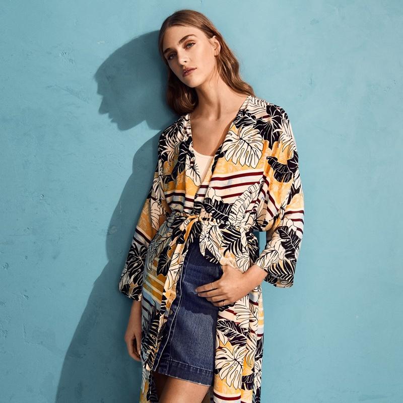 H&M Patterned Kimono and Denim Skirt