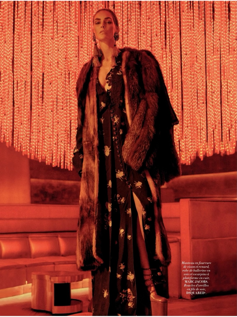 Hilary Rhoda poses in fur coat, printed maxi dress and platform shoes from Marc Jacobs