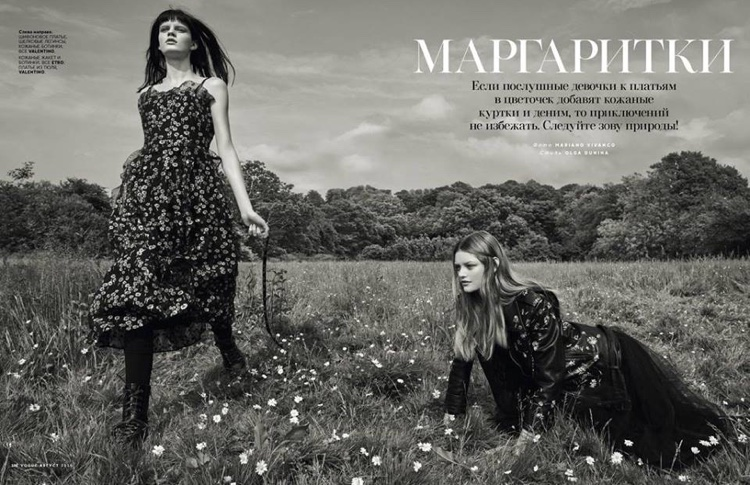 Hannah Elyse and Willow Hand pose outdoors in the fashion editorial