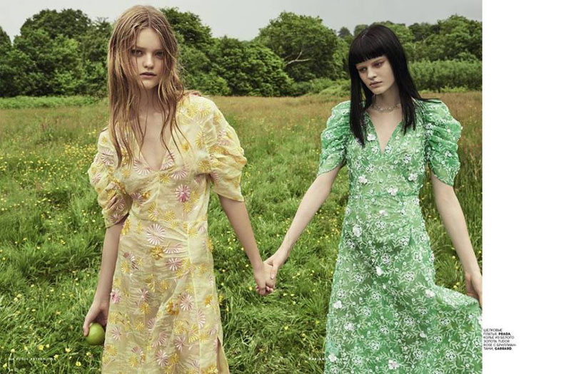 Willow Hand and Hannah Elyse model embroidered Prada dresses