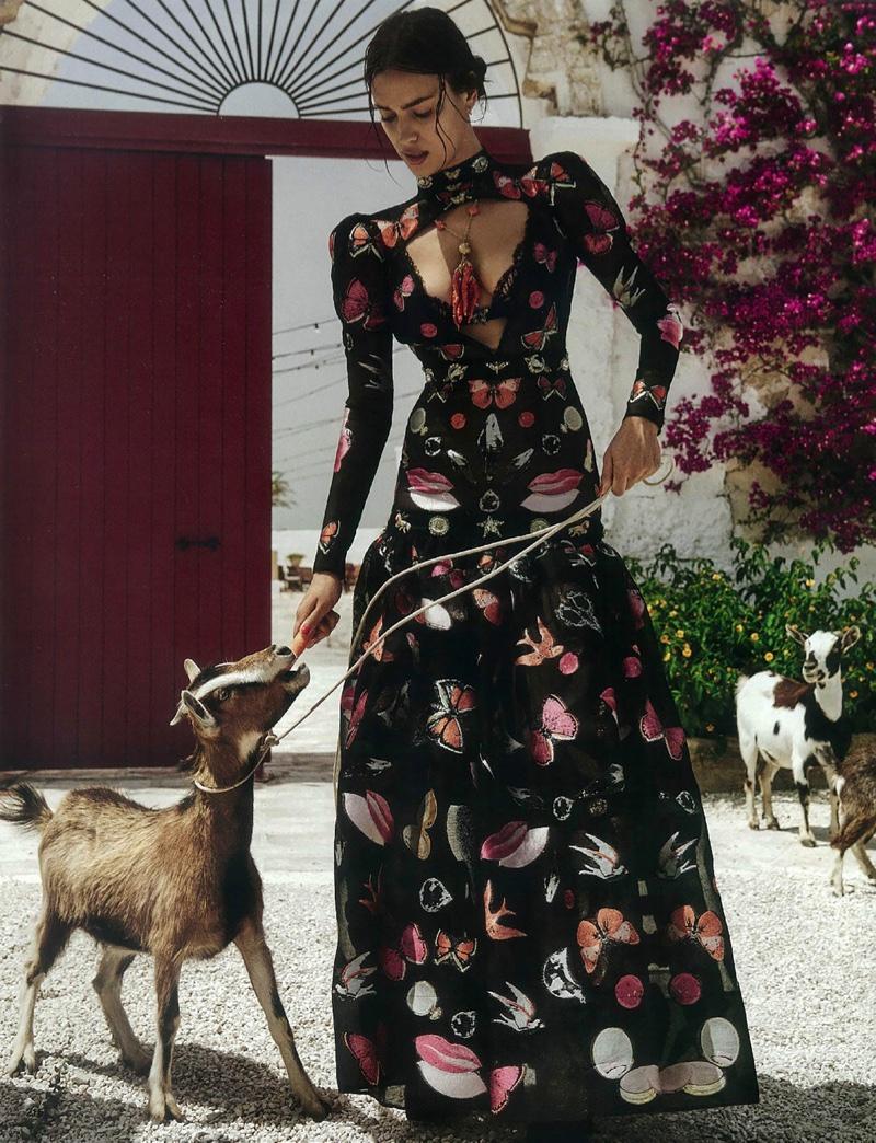 Irina Shayk models Alexander McQueen gown