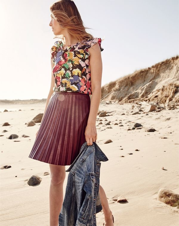 J. Crew Ruffle Top in Colorful Brushstroke, Faux-Leather Pleated Mini Skirt and Denim Jacket in Tyler Wash