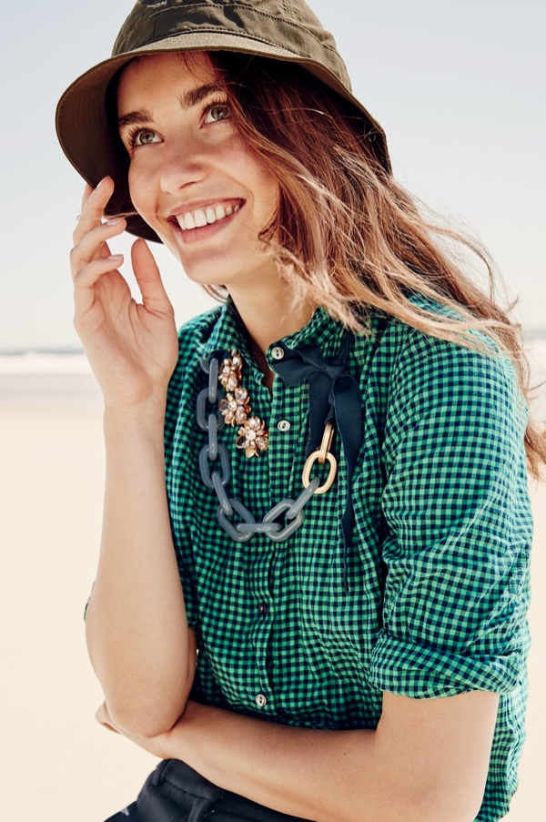 J. Crew Sun-Safe Bucket Hat, Gathered Popover in Two-Tone Gingham, Teddie Pant, Crystal Blossom Necklace and Lucite Link Necklace