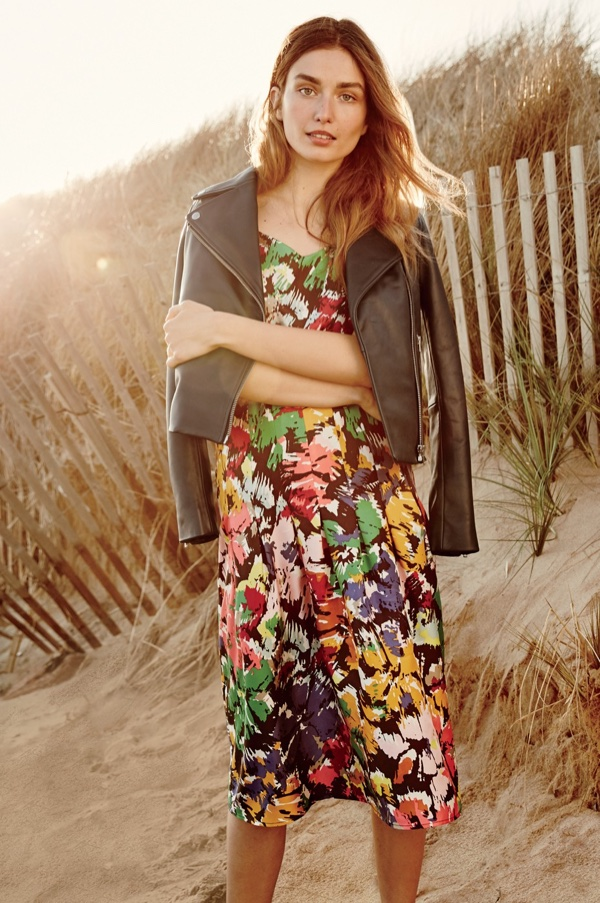 J. Crew Collection Leather Motorcycle Jacket and Spaghetti-Strap Dress in Colorful Brushstroke Print