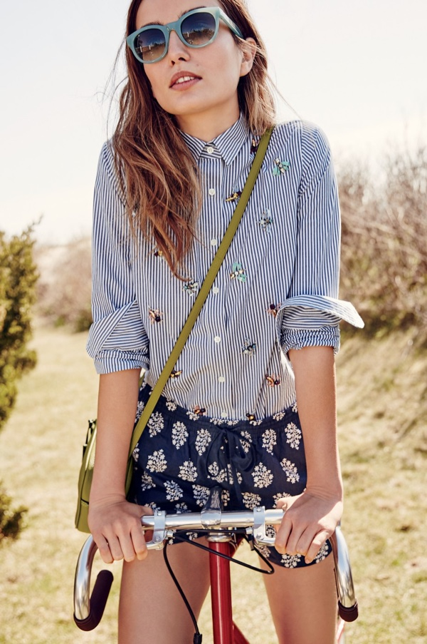 J. Crew Perfect Shirt with Bee Embellishment, Easy Short in Fern Print, Signet Bag in Italian Leather and Sam Sunglasses