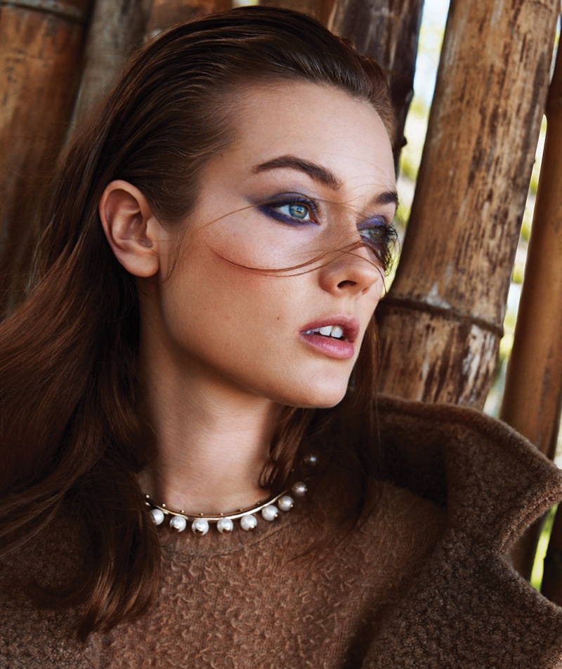 The model poses in fall beauty trends for the editorial