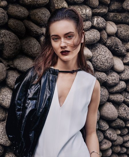 Jac Jagaciak Models Bold Fall Beauty Trends for Marie Claire
