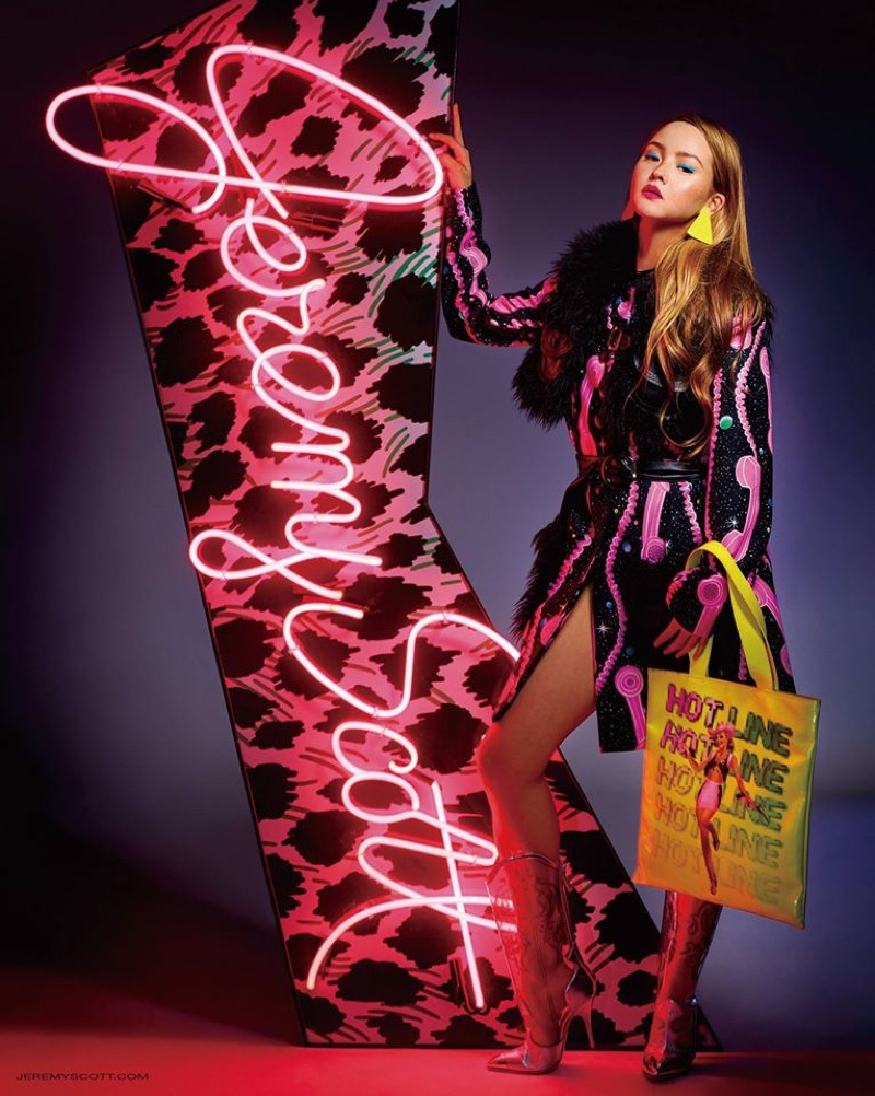Devon Aoki serves leg in Jeremy Scott's fall 2016 campaign