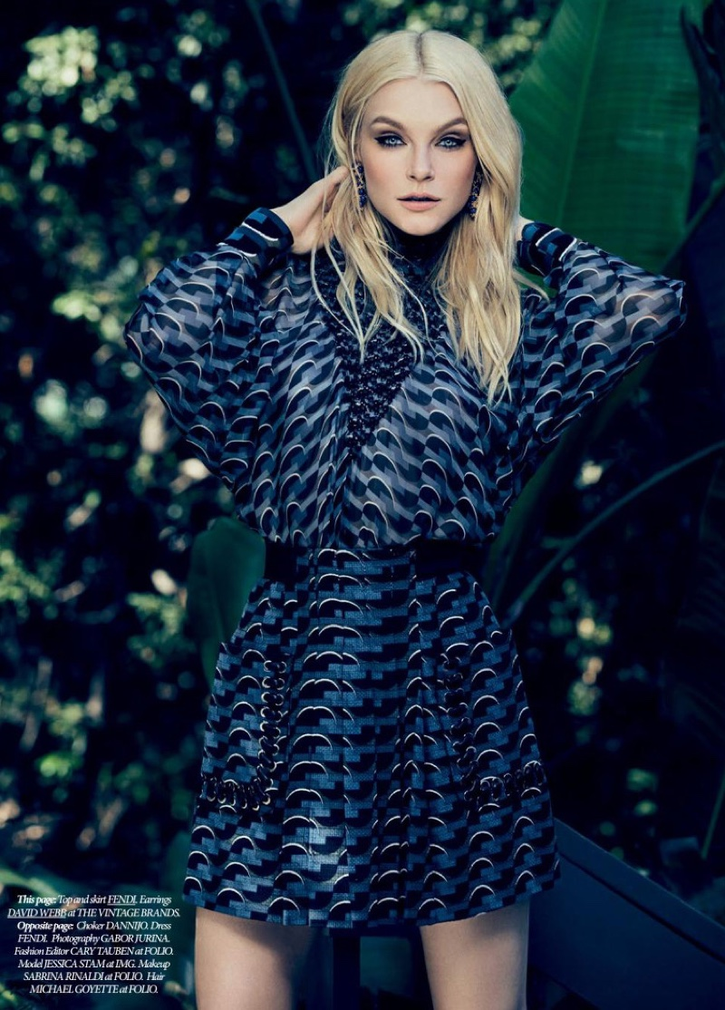 Jessica Stam models loose-fitting dress by Fendi
