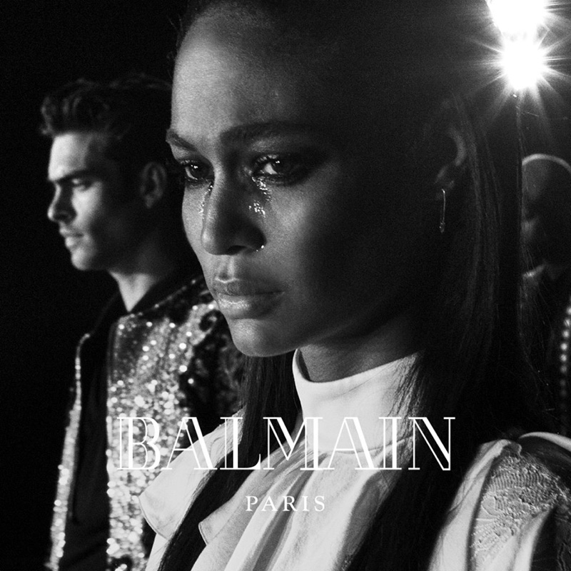 Joan Smalls sheds some tears in Balmain's fall-winter 2016 campaign
