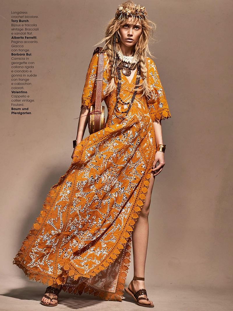 Josefin Bresan models Tory Burch crochet maxi dress with Alberta Ferretti sandals