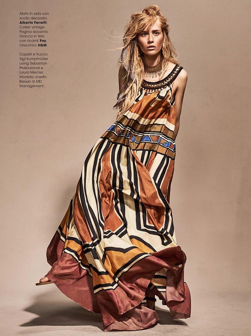 Josefin Bresan models Alberta Ferretti maxi dress