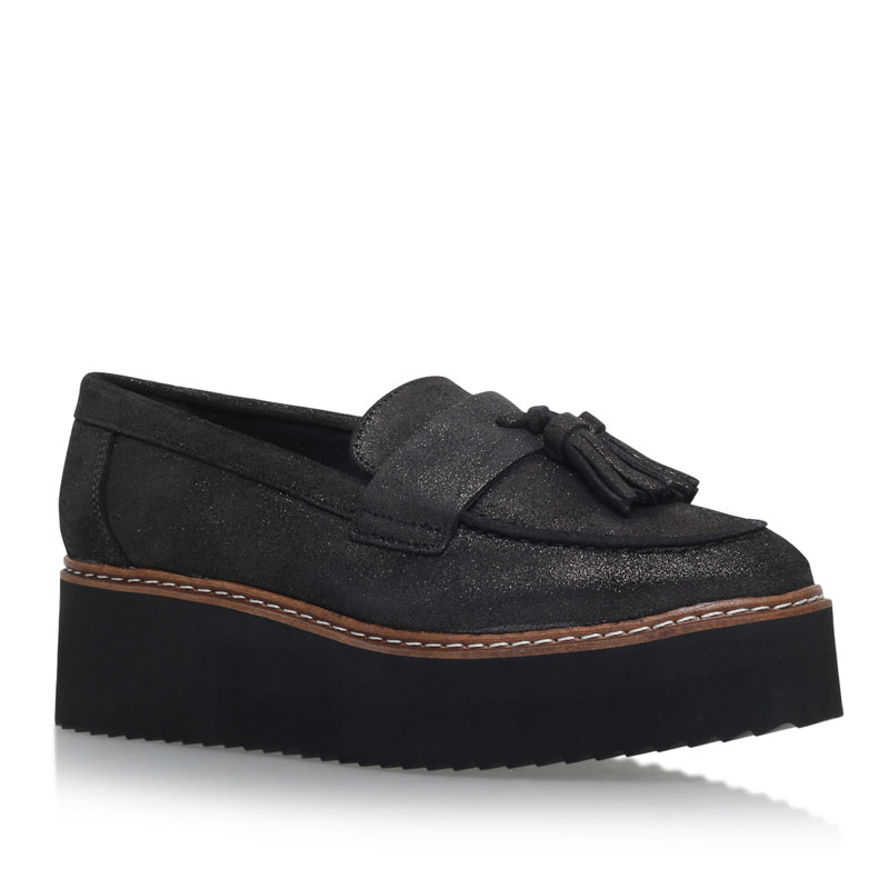 KG Kurt Geiger Kimble Gunmetal Flatform Loafer Shoes