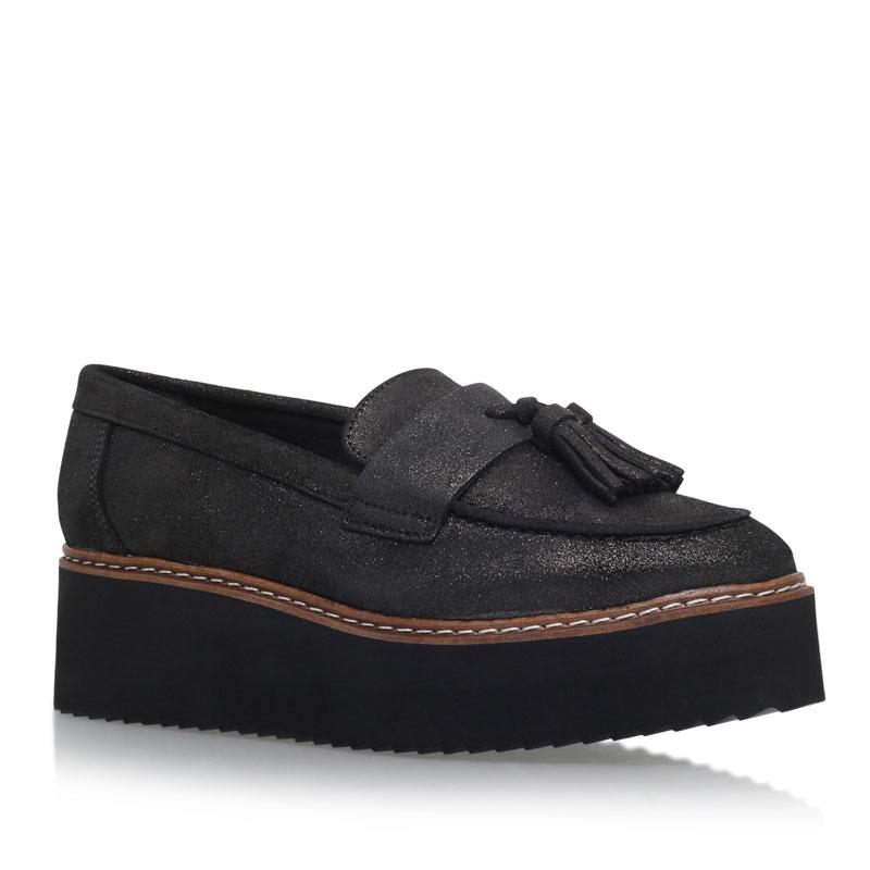KG Kurt Geiger Kimble Gunmetal Flatform Loafer Shoes
