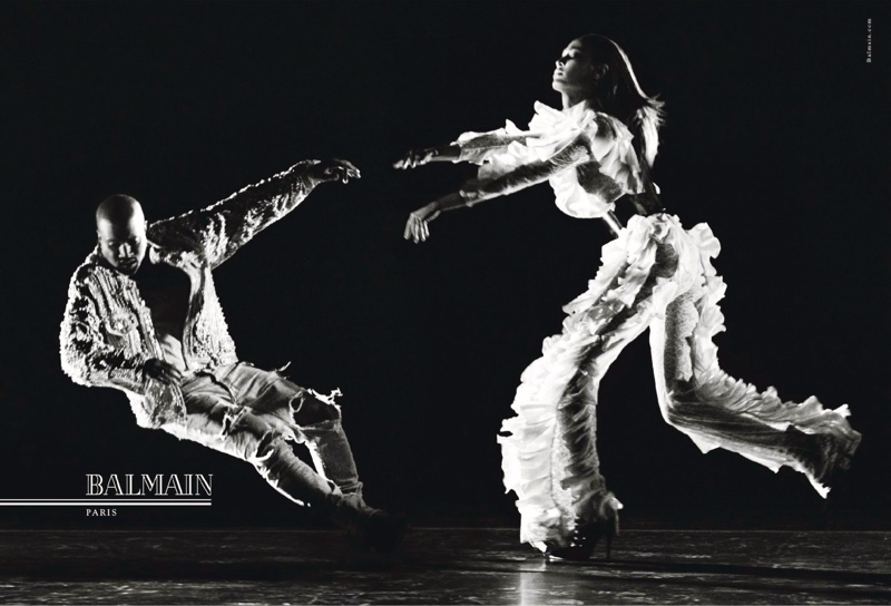 Joan Smalls and Kanye West are captured in motion for Balmain's fall 2016 campaign