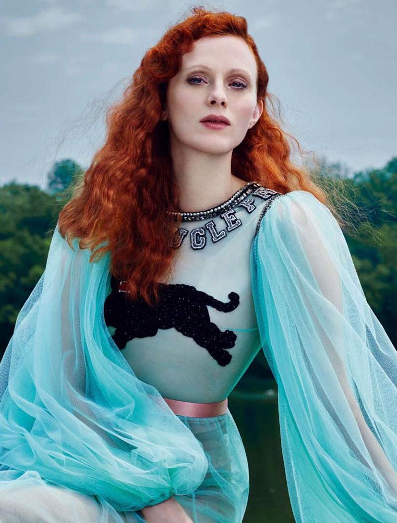Karen Elson Dazzles in Gucci for Harper's Bazaar Russia