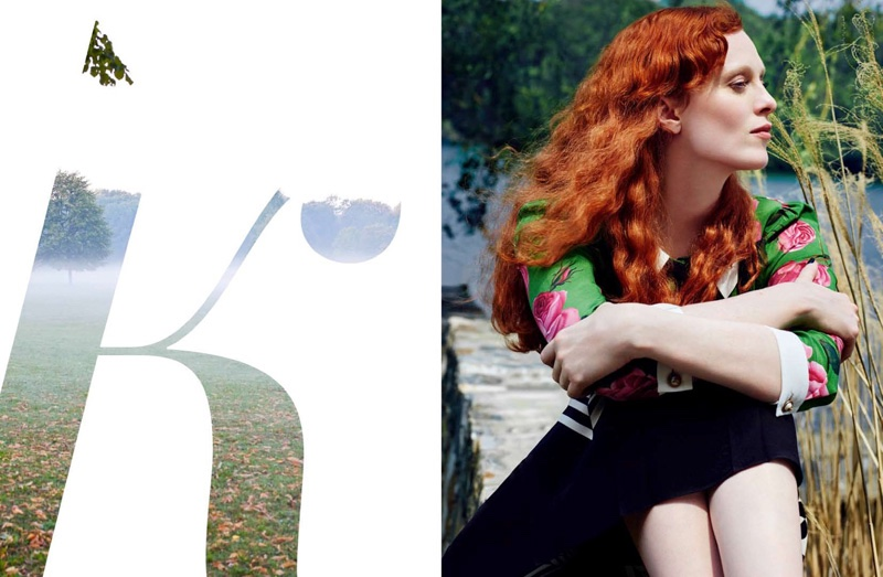 Karen Elson models Gucci looks in the fashion editorial