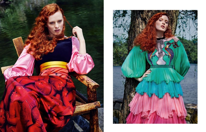 Karen Elson poses in bold color combinations and embellished gowns from Gucci