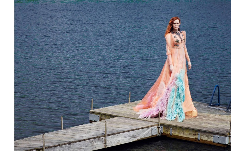 A pastel color gown from Gucci certainly makes a statement