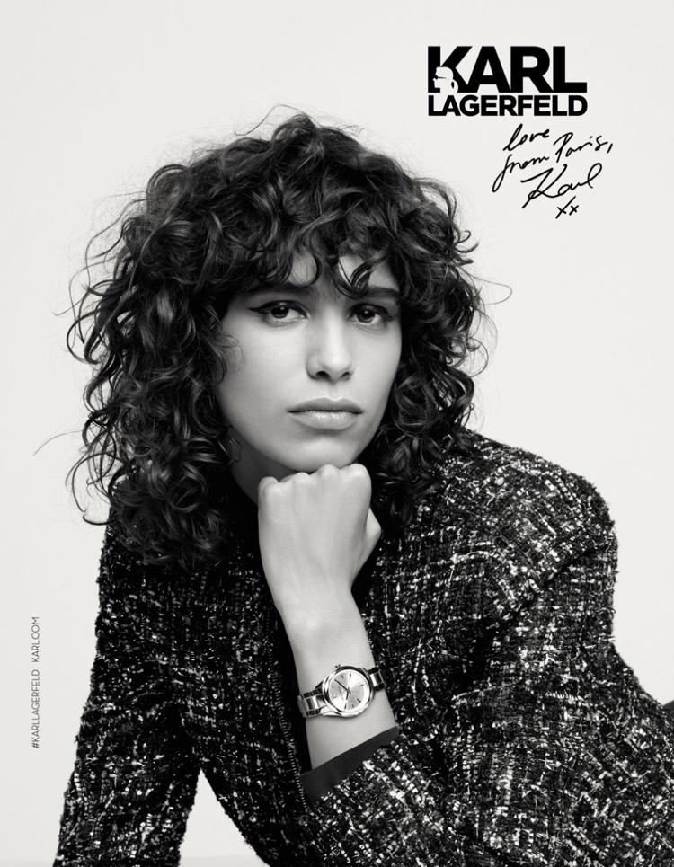 Mica Arganaraz flaunts a watch in Karl Lagerfeld's fall-winter 2016 campaign