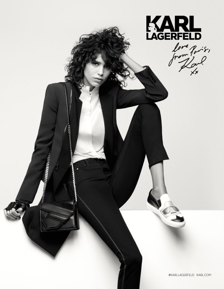 Mica Arganaraz lounges in Karl Lagerfeld's fall 2016 campaign