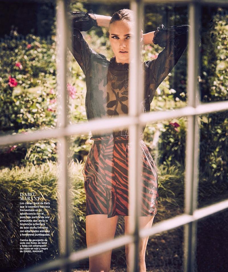 Karmen models Isabel Marant blouse and skirt
