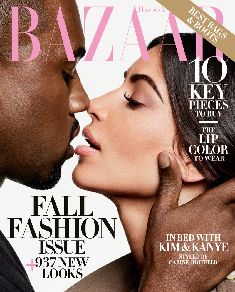 Kanye West and Kim Kardashian on Harper's Bazaar September 2016 Cover