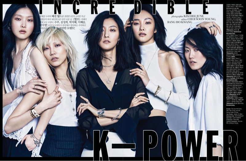 The top models pose for ELLE's Korean edition