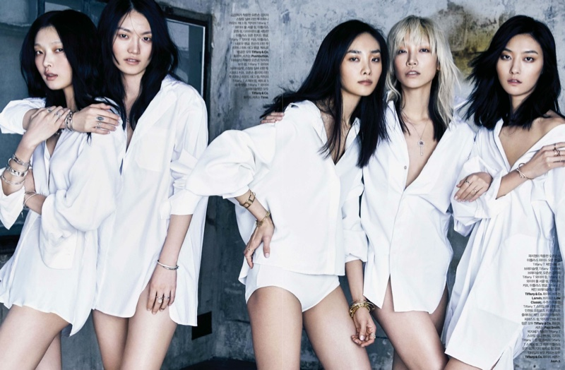 The Korean models wear white shirting in the editorial