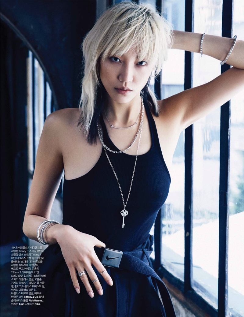 Soo Joo Park serves edgy vibes in a black tank top