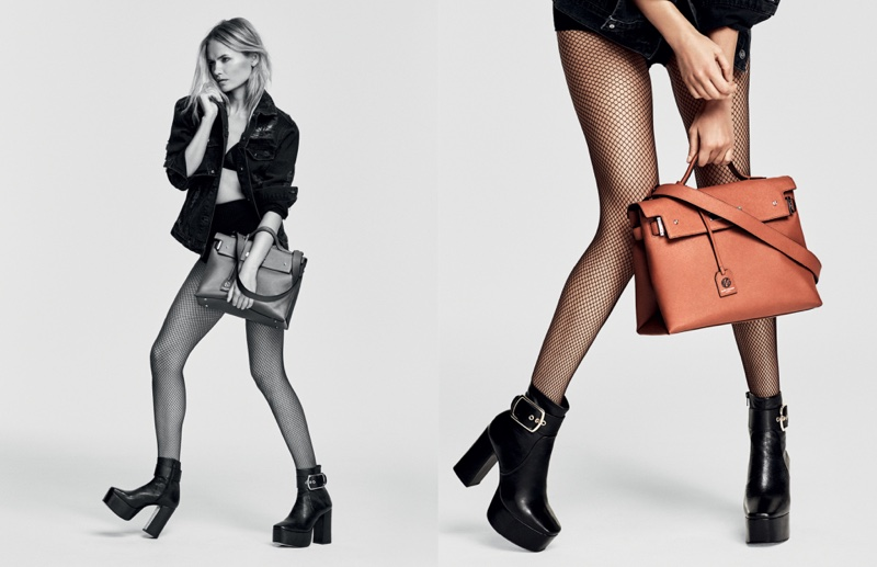 Natasha Poly wears Kurt Geiger's platform boots in its fall 2016 campaign
