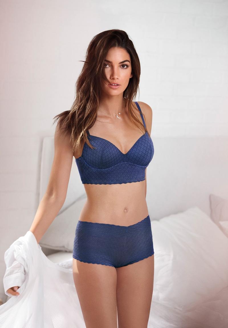 Lily Aldridge poses in Victoria's Secret Body by Victoria Easy collection