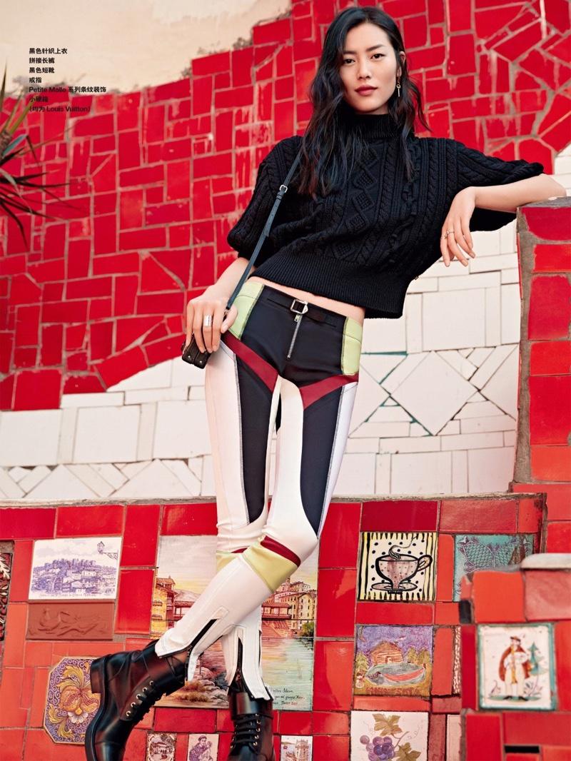 Liu Wen models Louis Vuitton looks in the fashion editorial