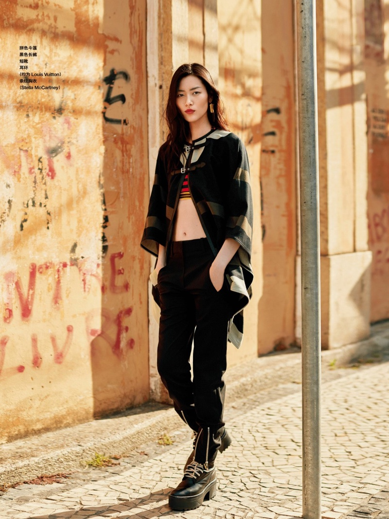 Liu Wen hits the streets in Louis Vuitton jacket and slouchy trousers