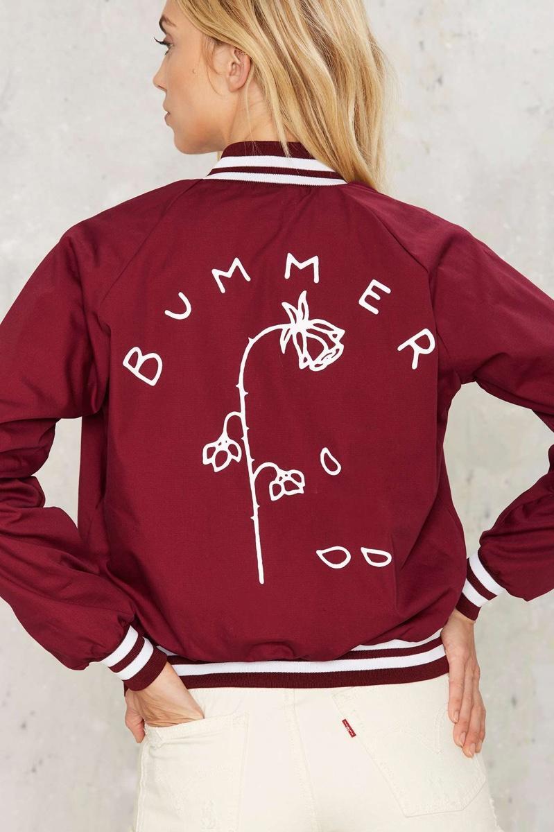MNKR Bummer Rose Graphic Bomber Jacket