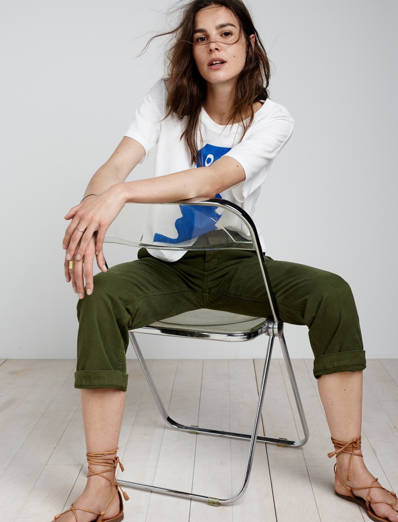 Madewell Cruiser Straight Chinos, Madewell x James Ulmer Tee and Boardwalk Lace-Up Sandal